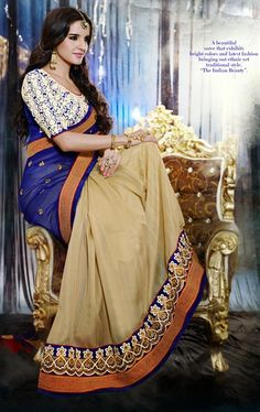 Picture of Vivacious Beige and Blue Party Wear Saree
