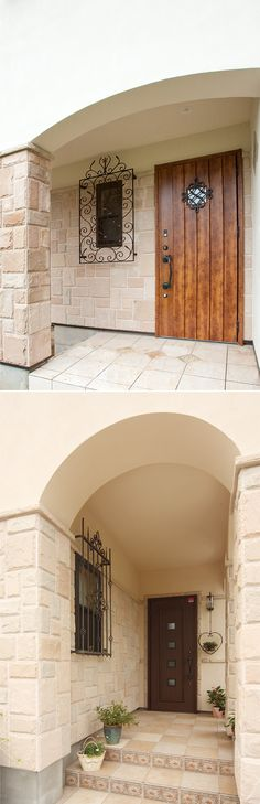 ヨーロピアンタイルの床、ロートアイアンの窓格子、石の壁。プロバンスデザインの定番です。|デザイン|ナチュラル|タイル| House Styles, House Interior, Hospital Design, Creative Living, Entrance, My Home, House Stairs, Exterior Tiles, Home Decor