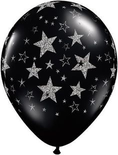 Black & Silver Glitter Stars-A-Round Qualatex Latex Balloons x 25 Round Balloons, Bubble Balloons, Black Balloons, Ballons Brilliantes, Qualatex Balloons, Glitter Stars, Black Glitter, Black Silver, Glitter Top