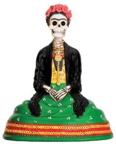 Frida Skull Seated Day of Dead, dia de los muertos skeletons, day of the dead figures, skull statues, day of the dead skulls, Mexican skull art for ancestors, museum gift store