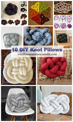 "10 DIY Knot Pillows Roundup by truebluemeandyou. A blogging friend just emailed me with a link to KnitPicks' free knit knot pillow pattern, so I'd thought I'd see what other DIY Knot Pillows were still out there with working links (because so many tutorials for the DIY Celtic Knot Pillows have disappeared). 1. DIY Knit Celtic Knot Pillow Free Pattern from KnitPicks here. ""This pillow starts as a very long tube, then it's then stuffed and cleverly woven around itself to form a knot."" 2...."