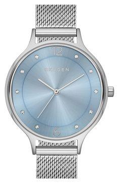 Skagen 'Anita' Crystal Index Mesh Strap Watch, 30mm available at #Nordstrom
