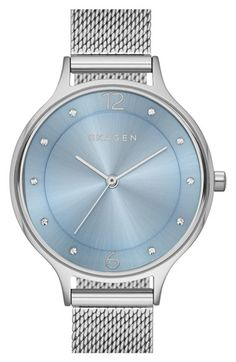Skagen 'Anita' Crystal Index Mesh Strap Watch, 30mm available at #Nordstrom