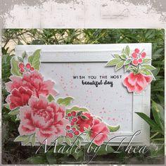 Altenew Peony Bouquet; pink white; floral; stitched frame die; birthday; friend; splatter