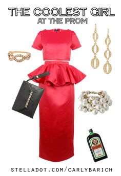 If I was going to go back to high school to graduate all over again, I'd be rocking this outfit. Kimberly Drop Earrings, Eternal Band Ring, 3 Stacks of Daphne Pearl Bracelets, and the Black Avalon Bracelet Clutch. #stelladot #stelladotstyle #promdress #hotpink #barbie #yeg #edmonton #yyc #calgary #outfitinspiration #ootd #peplumskirt #croptop #satin #jagermeister #prom2014
