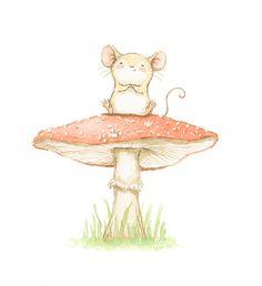 Ilustracion infantil raton seta