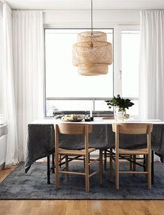 Home Decoration Diy black white wood dining room (this is our dining room light, too) Dining Room Colors, Dining Room Lighting, Dining Room Design, Ikea Lighting, Lighting Ideas, Dining Room Inspiration, Interior Design Inspiration, Sinnerlig Ikea, Basket Lighting