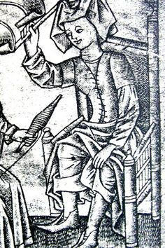 detail from violent wife, engraving, Master ES, late 15th century, Germany