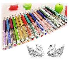 New gift Luxury Crystal Pen big diamond on top for students Crystalline Lady Ballpoint Pen stationery Xmas Christmas gift  Price: 1.65 USD