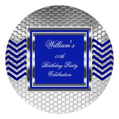 Elegant Chevron Blue Silver Birthday Party Mens