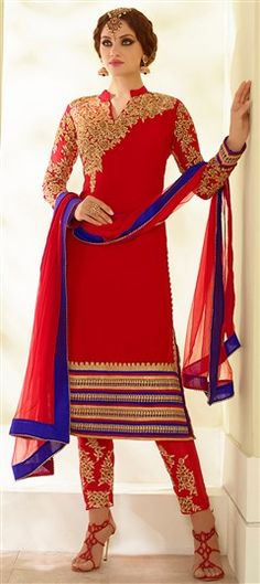 442456 Red and Maroon color family Party Wear Salwar Kameez in Faux Georgette fabric with Machine Embroidery, Thread, Zari work .