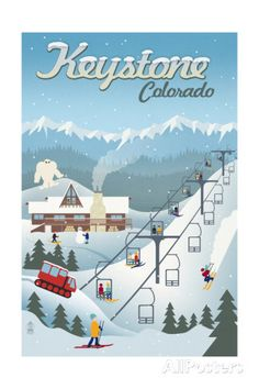 Keystone, Colorado - Retro Ski Resort Reproduction d'art