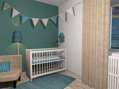Chambre de bébé turquoise, bleu canard, vue 3D, fanions, mobile maison coucou