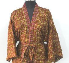 Short kimono cardigan, kimono, bohemian Kimono, Women's clothing, Sari kimono, Christmas Gift For Her, Printed Kimono Jacket #MKS 370 Kimono Cardigan, Kimono Jacket, Kimono Dress, Funky Fashion, Indian Fashion, Women's Fashion, Kimono Beach Cover Up, Bohemian Kimono, Short Kimono