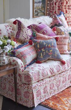 Fashion Room, Soft Furnishings, Blue Cushions, Funky Chairs, Grey Decor, Striped Cushions, Red Cushions, Living Room Decor, Living Decor