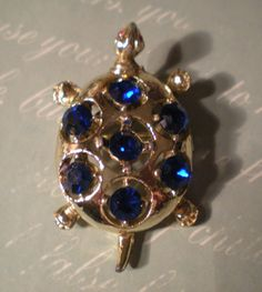 Vintage Royal Blue and Gold Turtle Pin by TooSweetMagnolias, $16.00