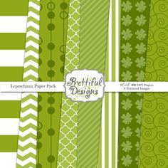 St Patricks Day Digital Paper Pack for Personal or Commercial Use - Leprechaun