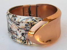 Matisse & Renoir Copper Enamel Clamper Cuff Bracelet