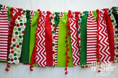 Christmas Fabric Tie Garland  Red Green Fabric by ThePartyTeacher