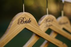 Engraved Bride and bridal party bamboo wood hanger for dresses
