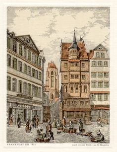 Frankfurt in 1845, Germany, Antique Lithograph, Vintage Print, Frankfurt Altstadt, Römerberg, Dom Römer, Frankfurt am Main, Deutschland