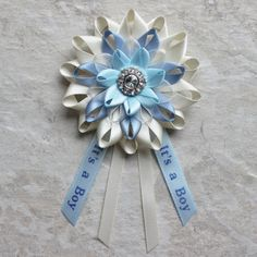 Mom to Be Corsage Mom to Be Pin Baby Boy by PetalPerceptions
