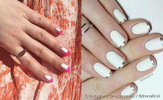 Esmalte branco com nail art geométrica ou com francesinha prateada? Escolha a sua decoração preferida e vote!