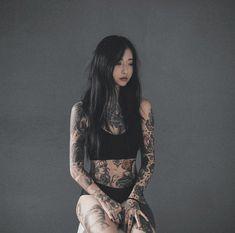 Asian Tattoos, Sexy Tattoos, Body Art Tattoos, Girl Tattoos, Asian Tattoo Girl, Tatoos, Tattoed Girls, Inked Girls, Tattoed Women