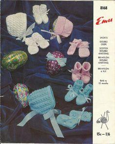 PDF Emu Knitting Pattern #8168, 4 & 8Ply, NB - 12 mths Lace Bonnet, Booties, Mittens