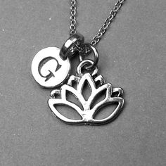 Lotus Flower Necklace lotus charm silver by chrysdesignsjewelry, $18.00