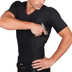Men's Undertech Undercover concealed carry v-neck shirt in black/ poly-lycra http://www.undertechundercover.com/index.php/concealed-carry/mens-shirts/undertech-undercover-men-s-concealment-v-neck-shirt.html