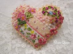 Crazy quilt peachy heart pin with lovely vintage by GlosterQueen