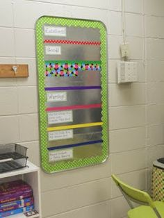 I like this idea for the daily behavior tracking as it is a oil drip pan and the kids have numbers instead of their name . you just move the magnet around :) Hot Spot News From Miss Powers' Grade! Classroom Setup, Classroom Design, School Classroom, School Fun, School Stuff, School Ideas, Classroom Schedule, Classroom Hacks, Classroom Procedures