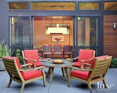 Cocktail Chairs on Neutral Contemporary Patio