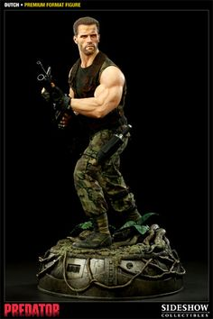 No Predator collection will be complete without the Dutch Schaefer Premium Format Figure. This high end Predator collectible features a great likeness of Arnold Schwarzenegger so that your friends and family members will recognize him instantly. The Dutch Premium Format Figure stands over 20 inches tall and is decked out in a real fabric uniform. This is a limited edition, hand-painted statue, so you're getting a very high quality collectible...really, a work of art.