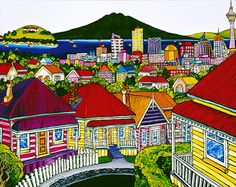 Auckland Harbour from Ponsonby by Fiona Whyte for Sale - New Zealand Art Prints Canvas Art, Canvas Prints, Art Prints, Fine Art Posters, New Zealand Landscape, New Zealand Art, Nz Art, Kiwiana, Popular Art