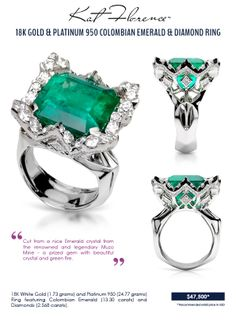 Kat Florence Signature Jewelry – Colombian Emerald and Diamond Ring