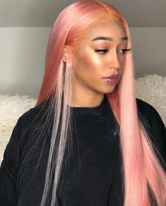 Rose Hair Human Virgin Hair Lace Front Wigs/Full Lace Wig Density Colorful Wigs Fashion Dark PinkWigs The Same As The Hairstyle In The Picture Inches Straight Weave Hairstyles, Long Face Hairstyles, Wig Hairstyles, Straight Wigs, African Hairstyles, Hairstyle Hacks, Long Haircuts, Hairstyles Pictures, Easy Hairstyle