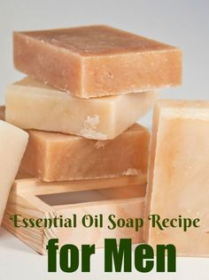 This essential oil soap recipe for men provides a woodsy, spicy scent that men will love. A soap base is used, but good combination of essential oils. Diy Savon, Savon Soap, Soap Making Recipes, Homemade Soap Recipes, Castile Soap Recipes, Homemade Soap Bars, Mens Soap, Essential Oils Soap, Essential Oil For Men