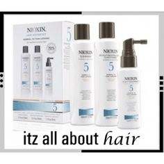 Buy Nioxin Trial Kit System 5 with Free Delivery at Regis Salons. Get the thick hair you want with Nioxin Trial Kit System 5 with a transactive delivery system that cleans away the residues from you scalp, Smoothplex which helps with moisture balance and Cleanser, Moisturizer, Nioxin Hair, Nioxin System, Online Beauty Store, Beauty Express, Scalp Conditions, Blow Dry Bar, Jon Renau