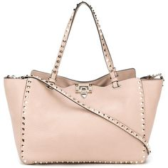 Valentino Garavani 'Rockstud' trapeze tote (8.890 RON) ❤ liked on Polyvore featuring bags, handbags, tote bags, valentino purses, handbags tote bags, tote purse, tote hand bags and valentino tote