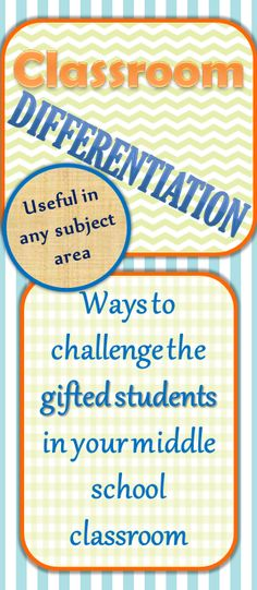 Ideas on how to differentiate instruction for the advanced students in your class