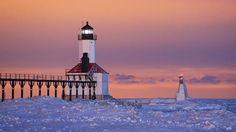 St. Josephs Lighthouses on frozen Lake Michigan