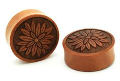 """7/8"""" 22mm Sawo Wood Bloom Flower Double Flare Carved Ear Gauges Plugs Laser Cut Big (Sold By Pair) Milkyway Body Jewelry. $22.99"""