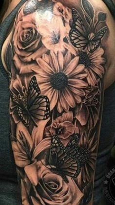 This is now PERFEKT to a price for a halbes butterfly s tattoo to Das is This . - This is now PERFEKT to a price for a halbes butterfly s tattoo to Das is This is now PERFEKT to a - Butterfly Sleeve Tattoo, Watercolor Tattoo Sleeve, Sunflower Tattoo Sleeve, Sunflower Tattoo Shoulder, Sunflower Tattoos, Dope Tattoos, Dream Tattoos, Black Tattoos, Body Art Tattoos