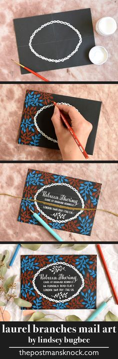 You can achieve a chalkboard-like effect by using colored pencils and white calligraphy ink on a black envelope - detailed tutorial!
