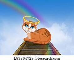 red kitten on the rainbow bridge Black Angel Wings, Black Angels, Hummingbird Wings, Angel Illustration, Wings Design, Free Cartoons, Angel Statues, Flash Art