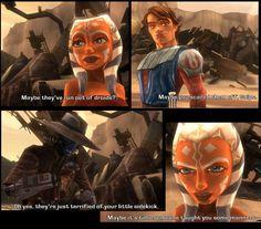 Ahsoka_Cad_Bane_Anakin.JPG (831×731)  real smooth Bane haha.... putting little snips in her place