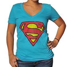 Disney Womens Superman Logo Sea Blue V-neck Medium Sea Blue @ niftywarehouse.com #NiftyWarehouse #Geek #Gifts #Collectibles #Entertainment #Merch