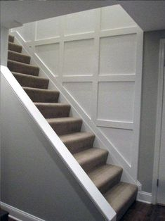 Staircase Molding, Stairs Trim, House Stairs, Basement Remodel Diy, Basement Renovations, Basement Ideas, Basement Decorating, Basement Inspiration, Basement Makeover